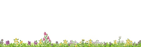 Seamless cartoon nature background. Vector illustration with separate layers. 向量圖像