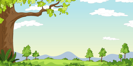 Cartoon Landscape background. Vector illustration with separate layers.