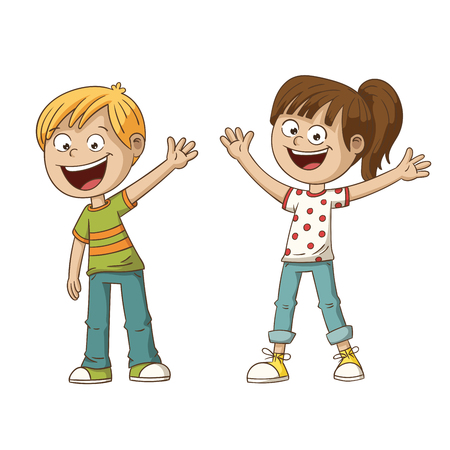Two smiling cartoon kids. Hand drawn vector illustration. Each on a separate layer.