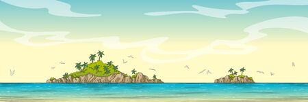 Panorama landscape with two islands. Hand drawn vector illustration with separate layers. Çizim