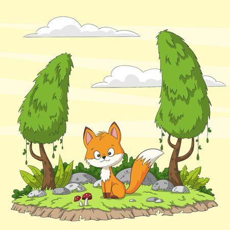 Cute cartoon fox in the forest. Hand drawn vector illustration. Ilustracja