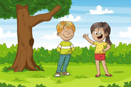 Some kids in the park. Funny cartoon hand drawn character.