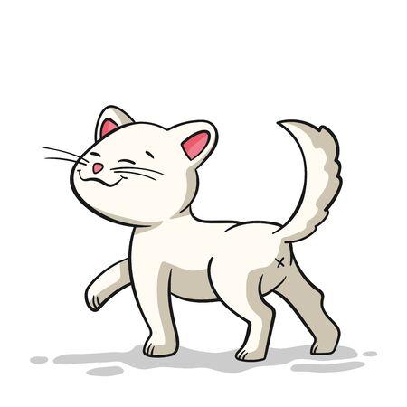 Little cartoon cat. Hand drawn vector illustration. Ilustracja