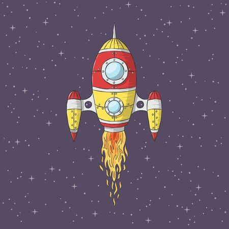Cartoon rocket launch. Hand drawn vector illustration with separate layers. Ilustracja