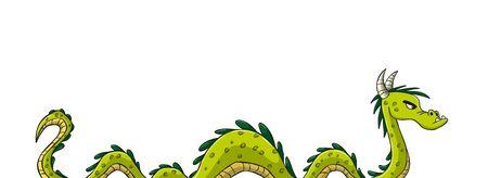 Green cartoon dragon. Hand drawn vector illustration with separate layers. Illusztráció
