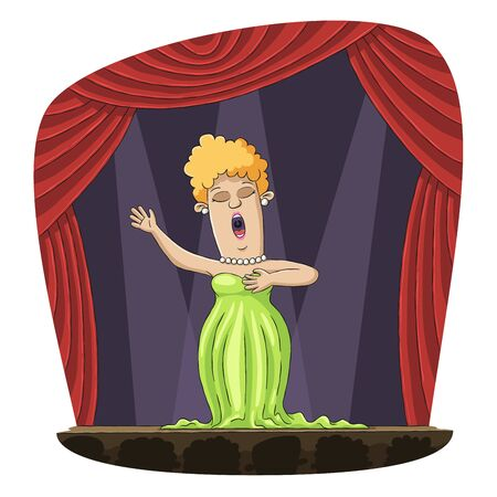 Opera singer on stage. Hand drawn vector illustration with separate layers.