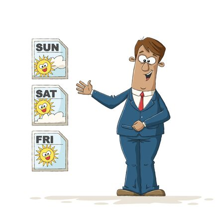 Metereologist at the weather forecast. Hand drawn vector illustration with separate layers.