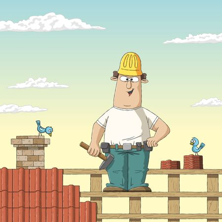 Roofer on a roof. Hand drawn vector illustration with separate layers. Ilustracja