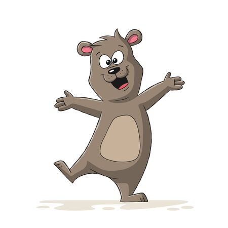 Happy cartoon bear. Hand drawn vector illustration with separate layers.
