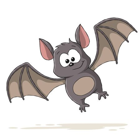 Sweet cartoon bat Hand drawn vector illustration with separate layers.
