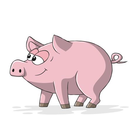Funny cartoon pig. Hand drawn vector illustration with separate layers. Ilustracja