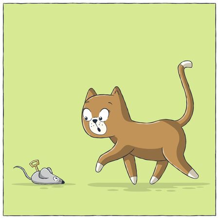 Cat finds toy mouse. Hand drawn vector illustration with separate layers.