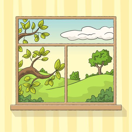 Window in the wall overlooking a summer landscape. Hand drawn vector illustration with separate layers.