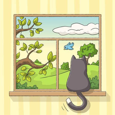 Cat sits at the window and sees a bird. Hand drawn vector illustration with separate layers.