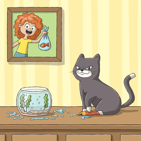Cat play with goldfish. Hand drawn vector illustration with separate layers.