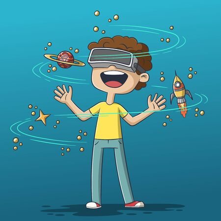Boy using virtual reality headset. Hand drawn vector illustration with separate layers.