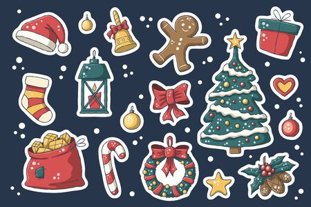 Christmas sticker set. Vector collection for stickers, patches, badges, pins. Hand drawn style doodle.