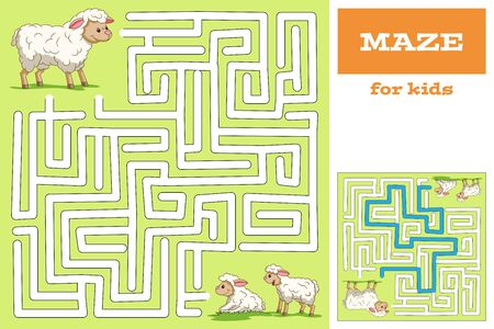 Lustiges Zeichentrickspiel für Kinder. Mit Lösung. Hand zeichnen Vektor-Illustration mit separaten Ebenen.