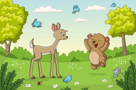 Cute animals on a meadow. Vector illustration with separate layers.