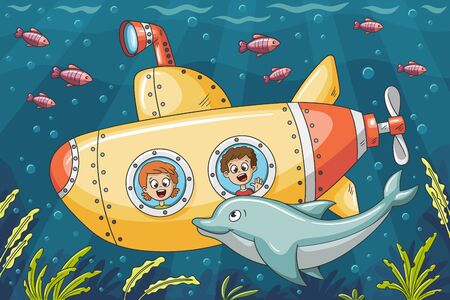 Children in a submarine explore the underwater world. Vector illustration with separate layers.