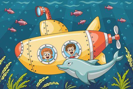 Kinder in einem U-Boot erkunden die Unterwasserwelt. Vektorillustration mit getrennten Schichten.