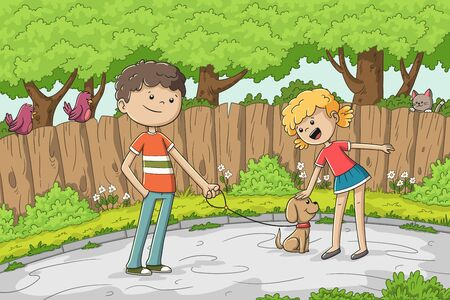 Boy and girl with a dog in the street. Hand drawn vector illustration with separate layers. Illustration