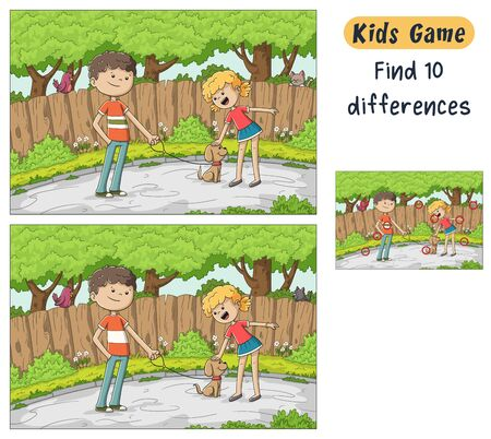 Find 10 differences. Funny cartoon game for kids, with solution. Vector illustration with separate layers. Banco de Imagens - 138243336