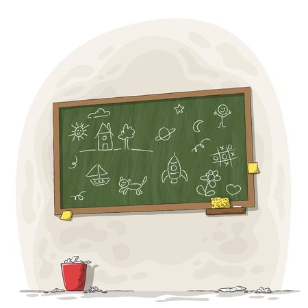 Painted blackboard with chalk, sponge and trash can. Hand drawn vector illustration with separate layers.
