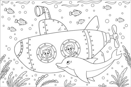 Coloring book for children. Hand draw vector illustration with separate layers.