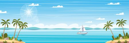Tropical coastal panorama landscape with palm trees and boat. Cartoon Vector Illustrations with separate layers. Vecteurs