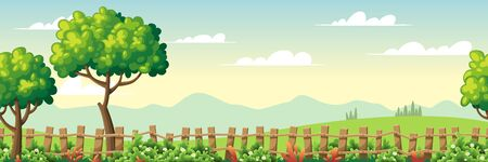 Seamless summer landscape with trees, fence and flowers. Vector Illustrations with separate layers. Concept for banner, web background and templates.