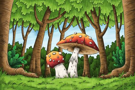 Hand drawn illustration of a forest landscape with mushrooms Banco de Imagens