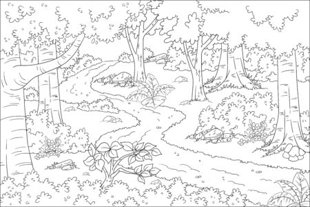Coloring book landscape. Hand drawn vector illustration with separate layers.