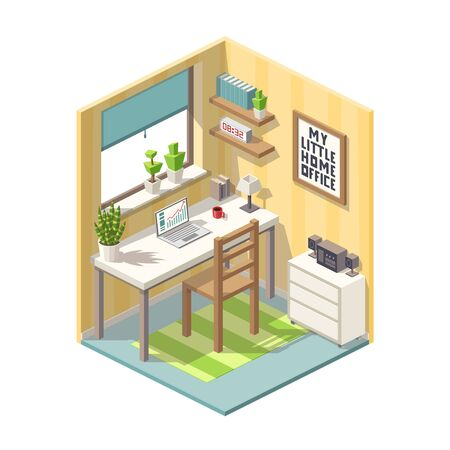 Isometric home office with furniture. Vector illustration with separate layers.
