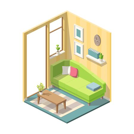 Isometric living room with furniture. Vector illustration with separate layers. Ilustração