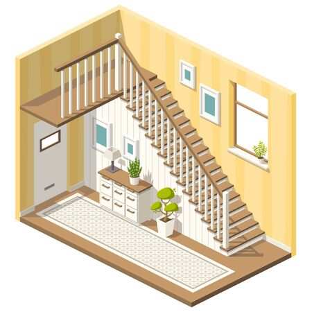 Isometric hall with stairs and furniture. Vector illustration with separate layers.