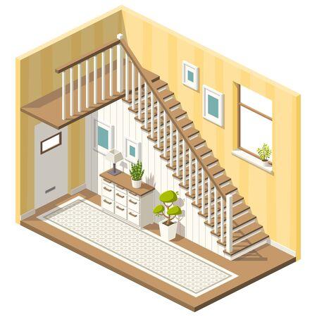Izometryczny hol ze schodami i meblami. Ilustracja wektorowa z osobnymi warstwami.