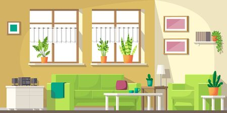 Living room with furniture and utensils. Vector illustration with separate layers.