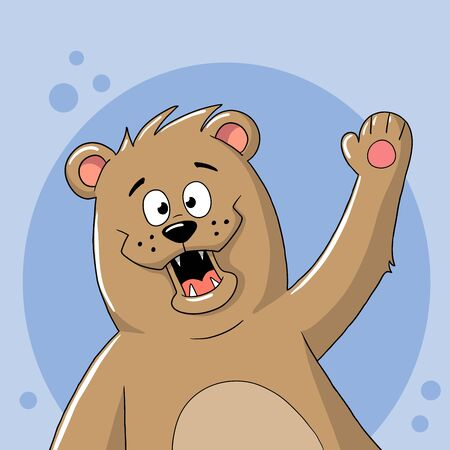 Funny cartoon bear, Hand drawn vector illustration with separate layers.