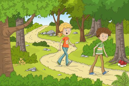 Two children are walking through the forest. Hand drawn vector illustration with separate layers.