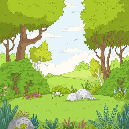 Summer garden landscape with bird. Hand drawn vector illustration with separate layers.