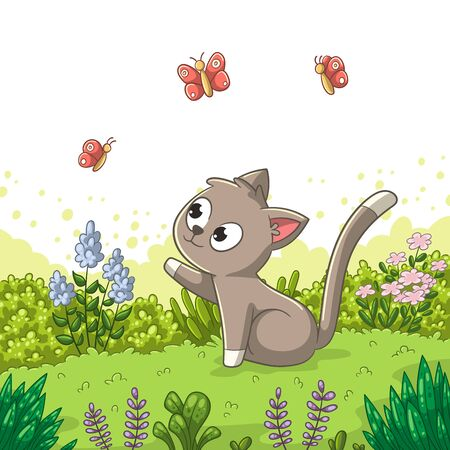 Little cat in the meadow Vector illustration with separate layers.