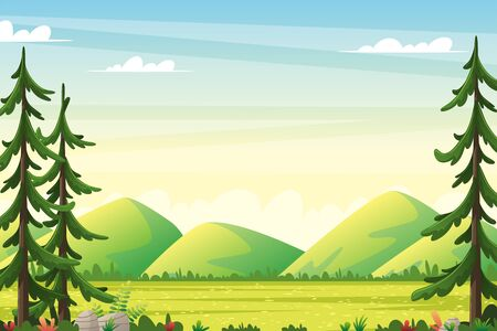 Rural summer landscape with moutains. Vector illustration with separate layers.