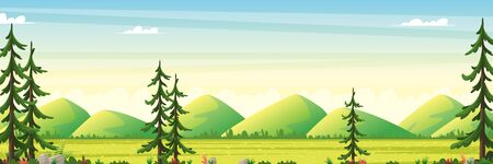 Panorama summer landscape with moutains. Vector illustration with separate layers.