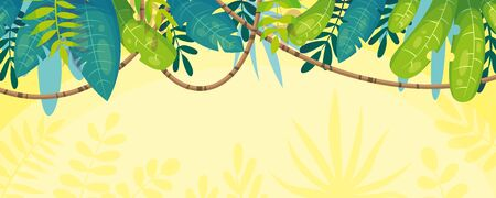 Nature banner panorama with plants and lianas. Vector illustration with separate layers.