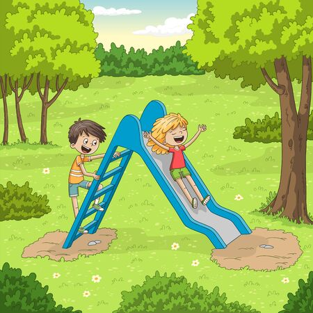 Two children are playing in the garden. Vector illustration with separate layers.