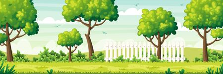 Summer garden landscape with fence. Vector illustration with separate layers. Ilustração