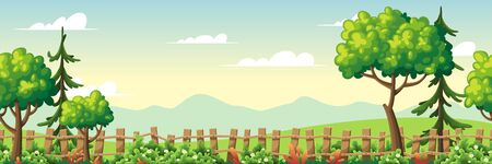 Panorama summer landscape with trees and fence. Vector illustration with separate layers. Ilustração