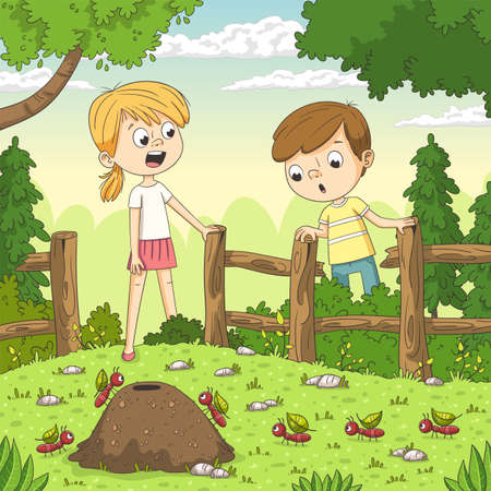 Two children watching ants in the garden. Hand drawn vector illustration with separate layers. Illustration