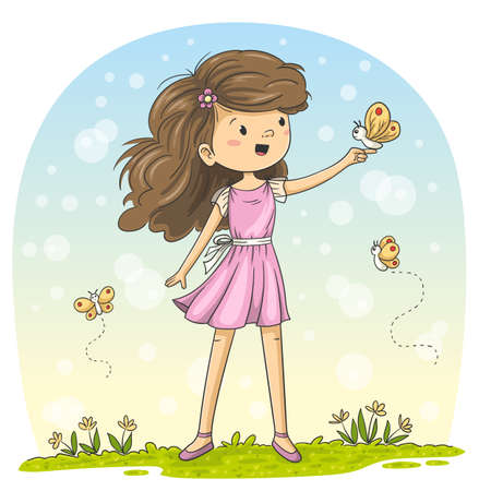 Little girl with butterflies Hand drawn vector illustration with separate layers.